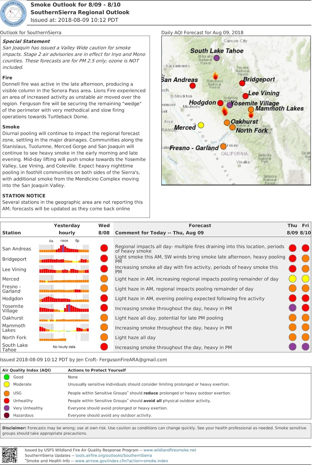 thrus aug 9 southern sierra regional smoke outlook geographical area update fergusonfire donnellfire lionsfire