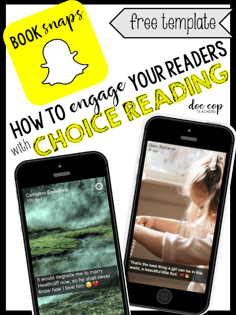 Book Snapchats are a great way to engage students in a deeper understanding of any work! They can be used to introduce options for choice reading, or students can create their own as an enrichment analysis activity. They also make fun classroom decor. Use the free template to create your own!