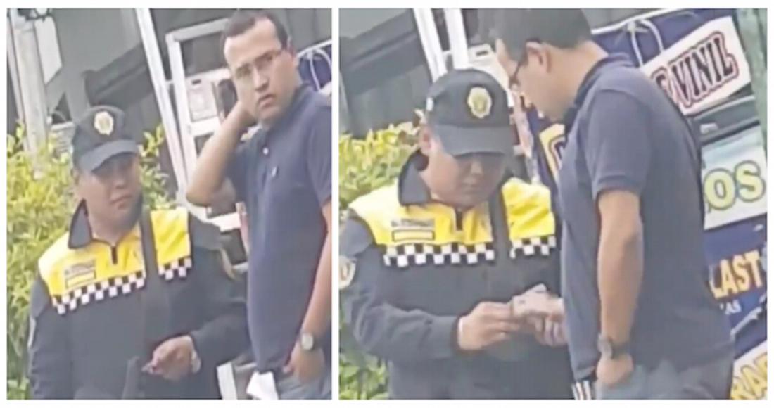 Video: Un sujeto saca dos billetes de su pantalón y el policía de tránsito le pide más dinero, en la CdMx.