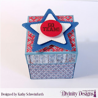Divinity Designs Stamp Set: All-Star Jersey, Custom Dies: Explosion Box, Explosion Box Pockets & Layers, Mini Box, Alphabet Flag, Paper Collections: American Quilt, Patriotic, Old Glory