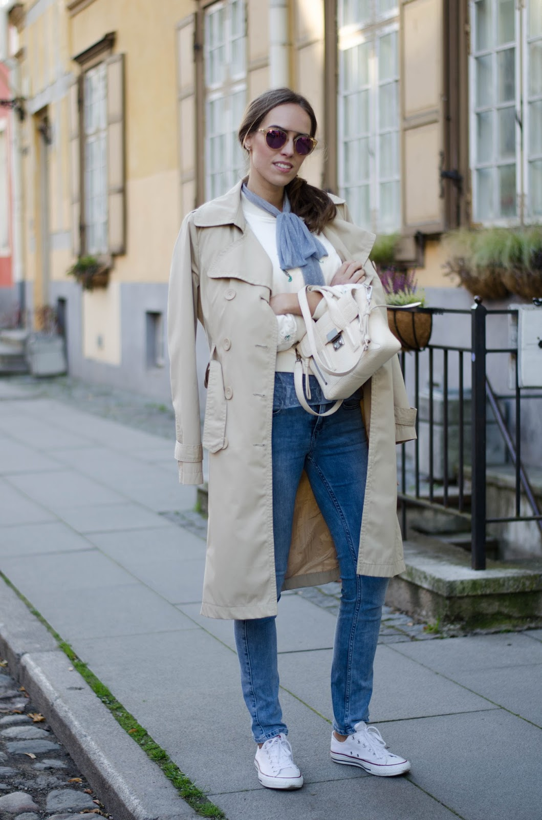 casual fall outfit trench coat