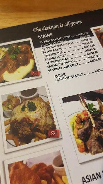 menu utama western food di bigbob cafe