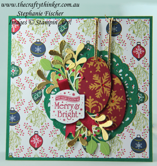 #thecraftythinker  #stampinup  #xmascard  #makeyourownstencil  #cardmaking  #blizzardthinlit  #SDBH , Stampin' Dreams Blog Hop, Christmas card, using dies to make stencils, Shimmer paint, Blizzard Thinlit, Christmas Traditions Punch Box, Stampin' Up Australia Demonstrator, Stephanie Fischer, Sydney NSW