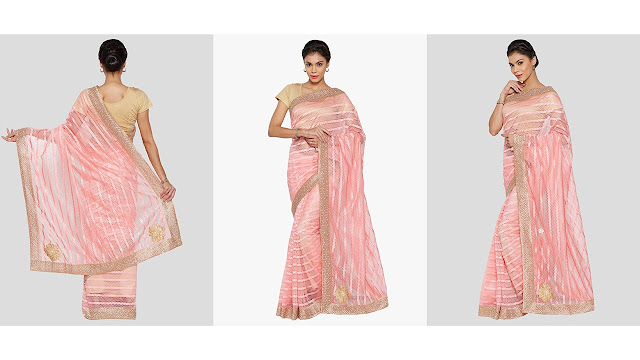Viva N Diva Plain Daily Wear Net Saree  (Pink)