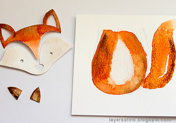 Layers of ink - Fox Watercolor Journal Tutorial by Anna-Karin Evaldsson, painting the fox