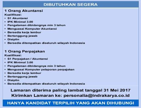 Lowongan Kerja PT. Indra Karya (BUMN) 2017 banyak posisi