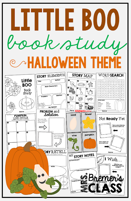 Little Boo book study companion activities to go with the story by Stephen Wonderli. A great fall or Halloween themed novel study! Packed with fun literacy ideas and guided reading activities. Common Core aligned. K-2 #1stgrade #2ndgrade #literacy #guidedreading #Halloween #picturebookactivities #kindergarten #bookstudies