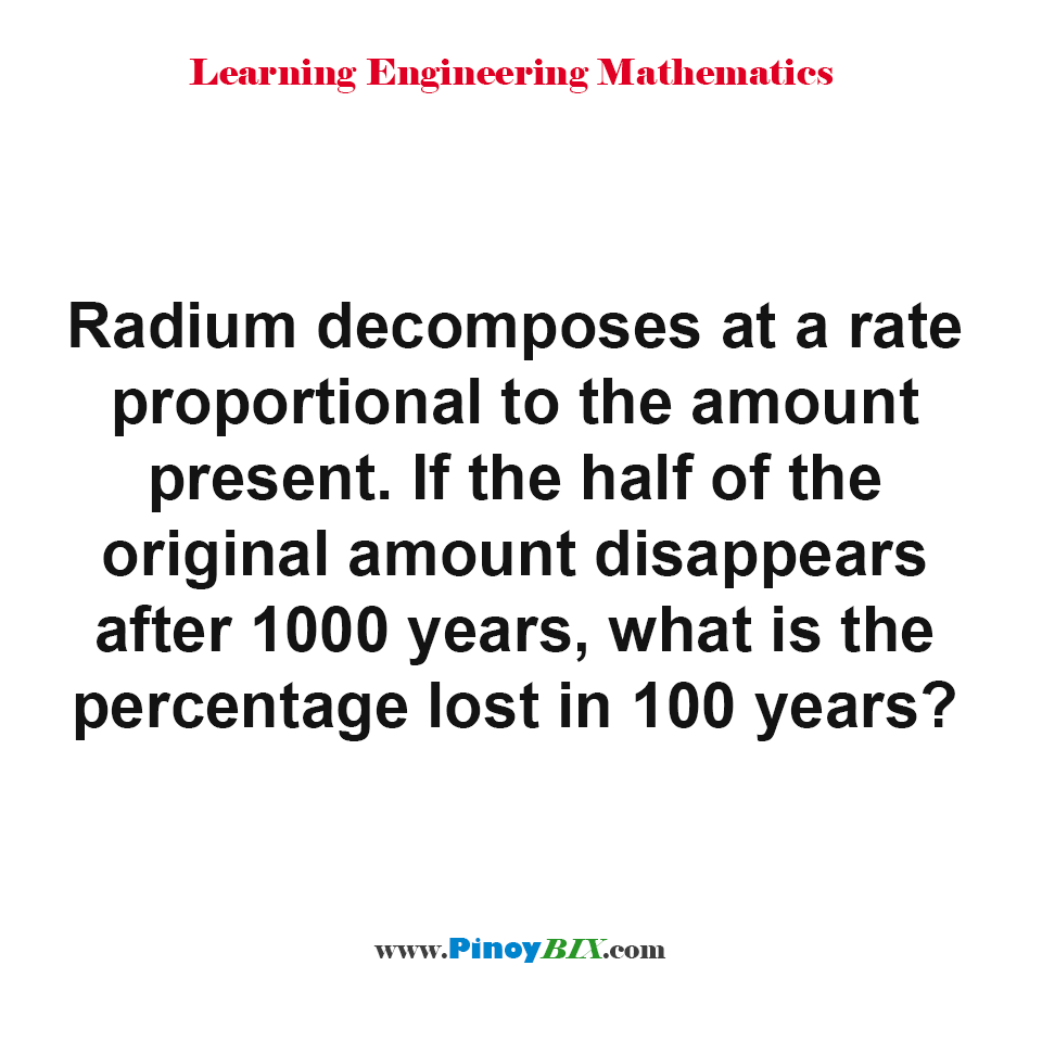 What is the percentage lost of Radium in 100 years?