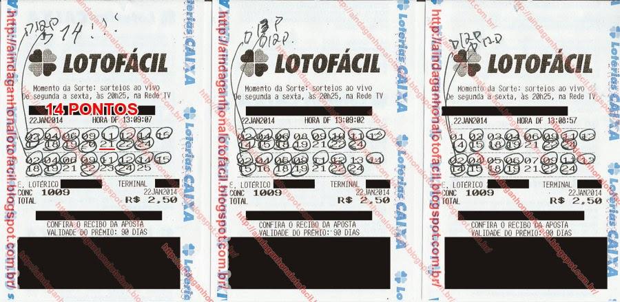 bilhete da lotofácil 1 jogo com 14 pontos utilizando o esquema lotofacil 13 fixos