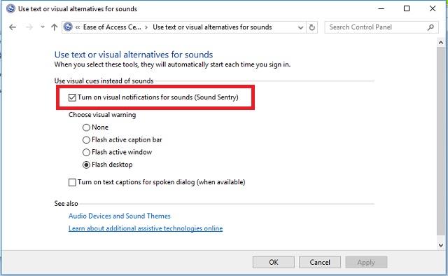 Cara mengaktifkan notifikasi visual pada Windows 3