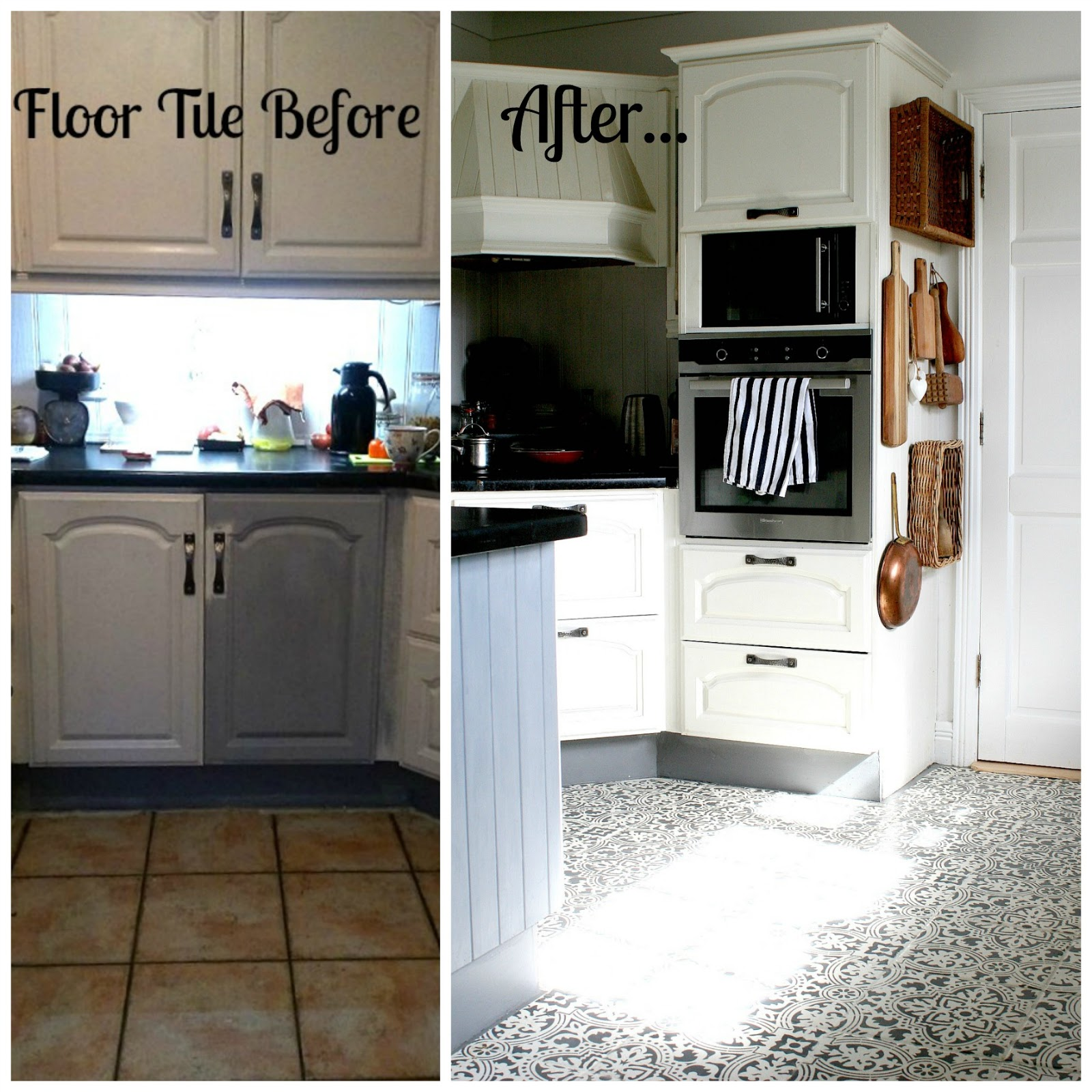 How To Stencil Kitchen Floor Tile & How It Held Up One