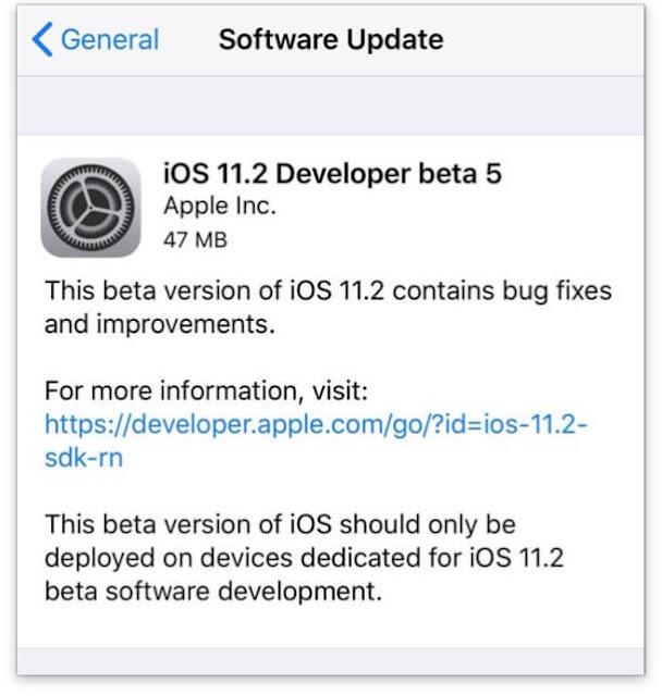 ابل تطلق iOS 11.2 Beta 5 للاختبار