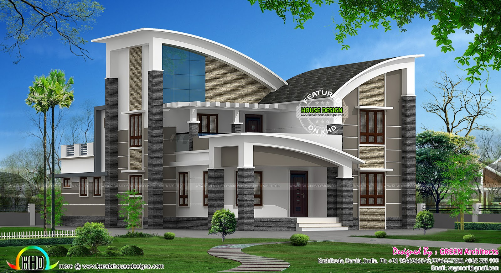 January 2016 kerala home design and floor plans for Curved roof house plans