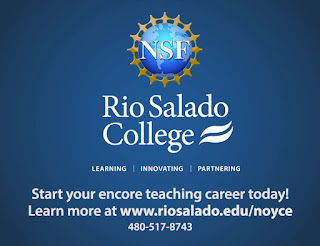 poster featuring Rio and NSF logos.  Text: Learning Innovating Partnering.  Start your encore teaching career today!  Learn more at www.riosalado.edu/noyce 480-517-8743