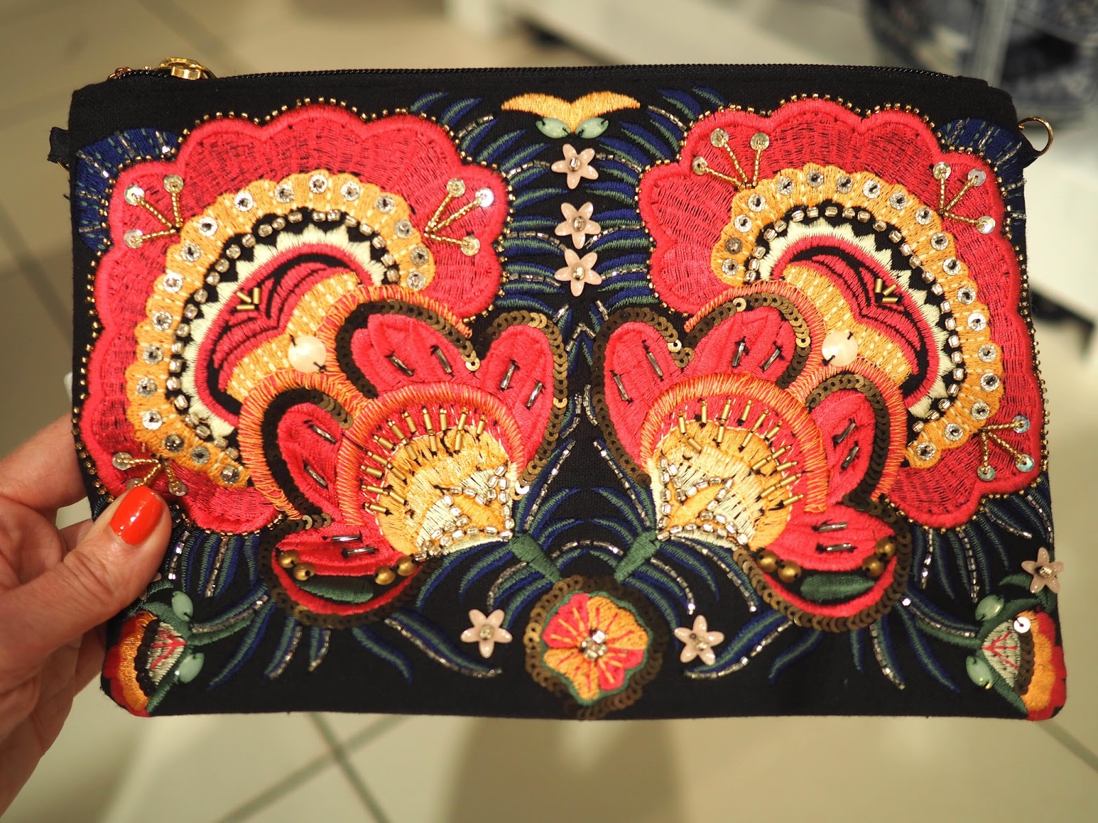 What to wear for York Races, New Look embroidered clutch bag, over 40