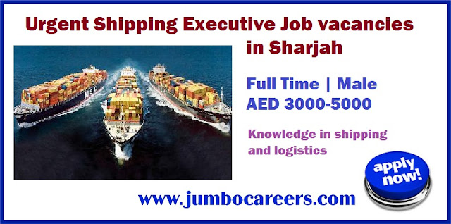 Urgent Shipping Executive Job Vacancies in Sharjah UAE - April 2018