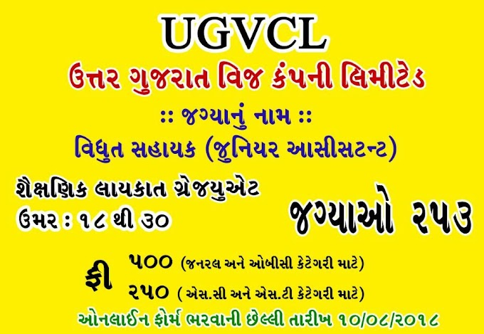 UGVCL Advertisement for 292 Posts 2018