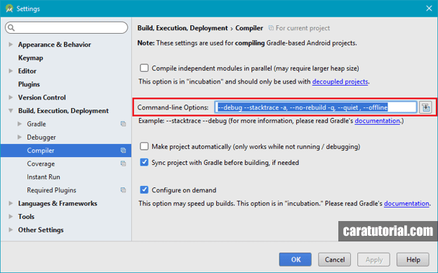 Compiler Settings Android Studio