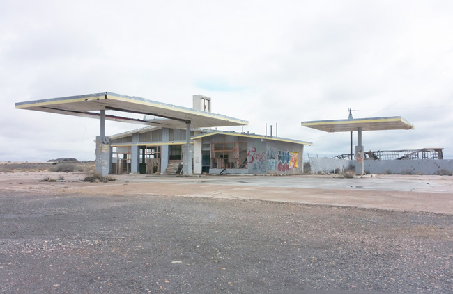 Abandoned gas station at Two Guns, Arizona ghost town