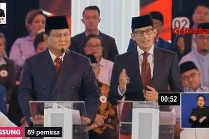 Babak Pertama Debat Pilpres Prabowo-Sandi Unggul: Tanpa Teks, Waktu Pas, Capres Cawapres Bicara