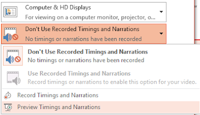 Select an option for timing and narration