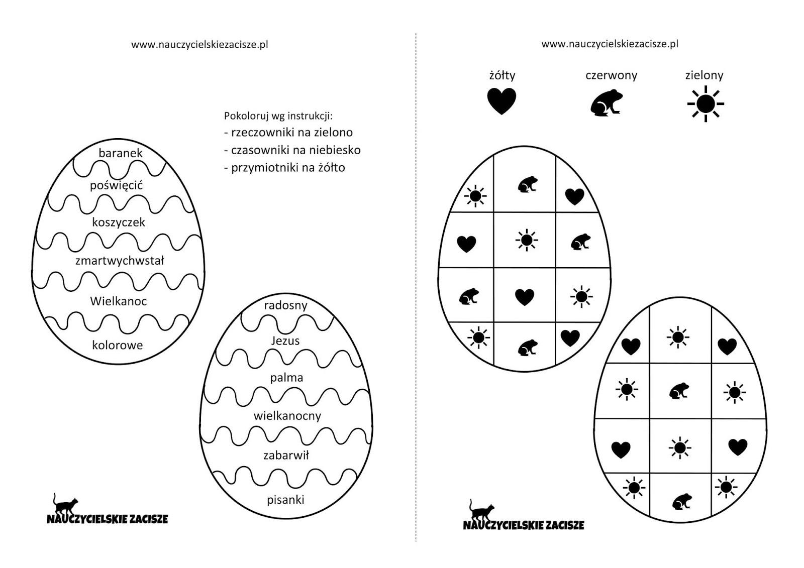 Nauczycielskie Zacisze Wielkanoc Karty Pracy Pisanki Kolorowanki Grafomotoryka Liczenie