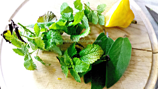 Lemonbalm, Lemon zested, and Sage