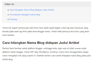 Cara Menciptakan Daftar Isi Dalam Postingan Ala Blogger Untuk Seo