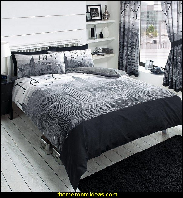 New York City Bedding   New York Style loft living - modern contemporary decorating ideas - mod retro style furnishings - modern contemporary decor Cityscapes
