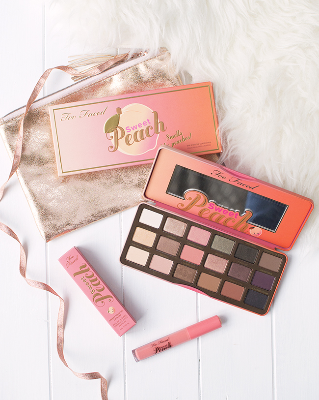 Too Faced Sweet Peach Palette & Creamy Peach Oil Lip Gloss in Pure Peach