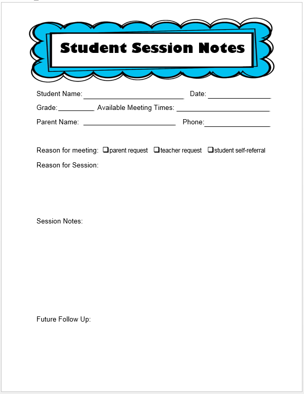 Keeping track of counseling notes the middle school counselor the student session notes will be used for all other students those referred by teachers and those that just want to come in and see me maxwellsz