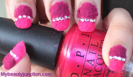 Hot pink ombre flocking powder manicure with O.P.I. It's All Greek To Me nail polish