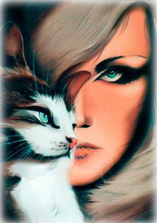 pintura de moça com gato