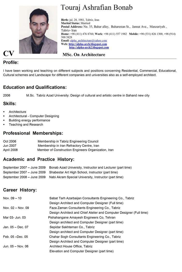Contoh Daftar Riwayat Hidup Curriculum Vitae Cv Lamaran Kerja