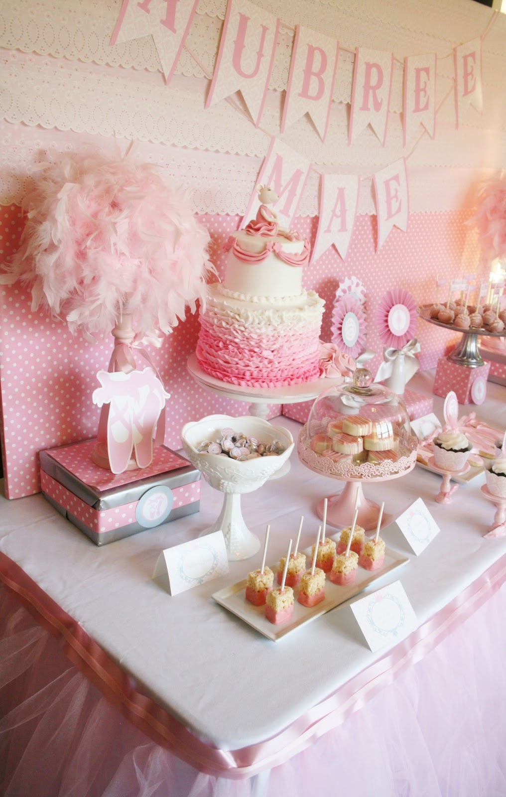 And everything sweet ballerina baby shower dessert table - Decoration baby shower girl ...