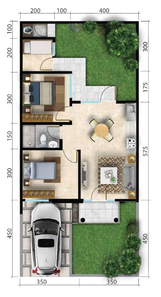 Denah Rumah 7x15 : denah, rumah, LINGKAR, WARNA:, Denah, Rumah, Minimalis, Ukuran, Meter, Kamar, Tidur, Lantai, Tampak, Depan