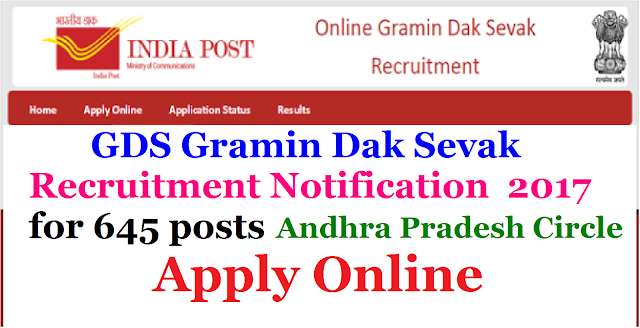 GDS Gramin Dak Sevak Recruitment Notification 2017 for 645 posts under Andhra Pradesh Circle,India Post India Post | Online Gramin Sevak Recruitment Notification2017| GDS Gramin Dak Sevak Recruitment Notification 2017 for 1126 posts under Andhra Pradesh Circle,India Post|Notification for the post of Gramin Dak sevakAndhra Pradesh Circle India Post| under Andhra Pradesh Circle,India Post Recruitment Notification 2017 for GDS Gramin Dak Sevak| GDS Gramin Dak Sevak Recruitment 2017 Notification ,eligibility, EDUCATIONAL QUALIFICATION,SELECTION CRITERIA , Registration,How to apply,Payment,Online Application @ http://appost.in/ | gds-gramin-dak-sevaks-recruitment-notification-2017-under-andhra-pradesh-circle-india-post-registration-apply-online-appost-in-gdsonline-indiapost-gov-in|Apply Online @ http://appost.in/ AP Post Office Recruitment 2017: Apply online fro 1126 Gramin Dak Sevak ( Post man) Jobs. Andhra Pradesh Postal Circle has released a notification recruitment for 1126 of Gramin Dak Sevak vacancies .An eligible candidates who are eagerly looking for Andhra Pradesh Notification 2017 through the official website. Candidates age limit should be in between 18 years to 40 years as on 19th April 2017.To get more information about the organisation,last date,application fee ,online application process ,selection process, pay scale2017/03/gds-gramin-dak-sevaks-recruitment-notification-2017-under-andhra-pradesh-circle-india-post-registration-apply-online-appost-in-gdsonline-indiapost-gov-in.html