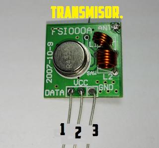 Modulo de radiofrecuencia de 433 MHz (Transmisor), control remoto.