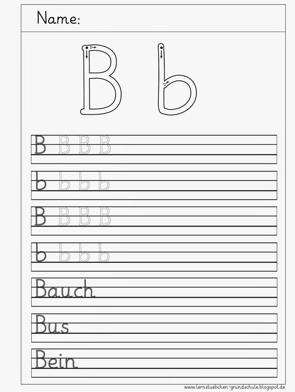 Arbeitsblätter Buchstabe S : Lernstübchen b schreibblätter