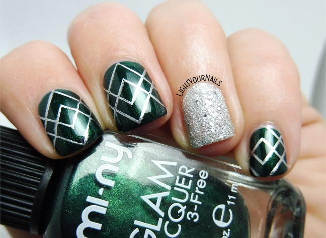 Mi-Ny green and silver nail art