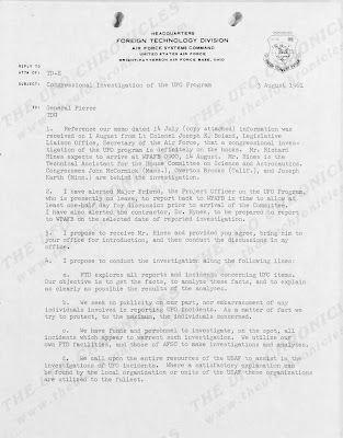 Congressional Investigation of The UFO Program, Letter To General Pierce From Colonel Edward Wynn (1 of 2) - 7-3-1961