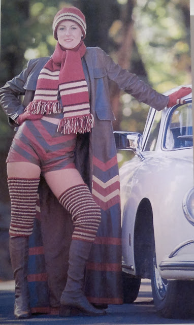 Poster of girl wearing 1970s style knitted scarf, beanie and knee warmers combined with boots, gloves, duster coat and 'short shorts' with bared thighs and midriff. The coat and shorts have bold chevron stripes. The knitwear has straight stripes in red, yellow and navy.