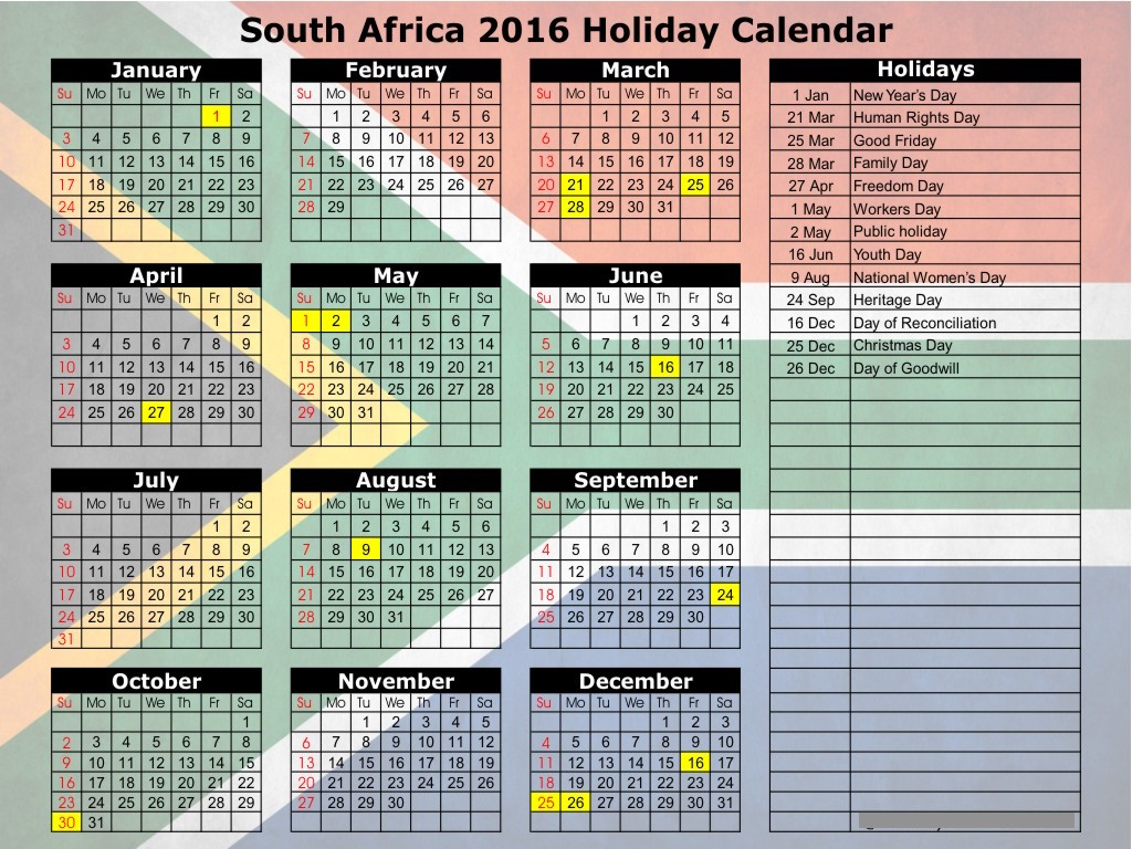 2017 calendar south africa holidays