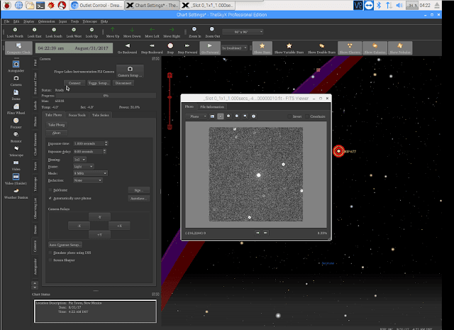 Screen Shot of TheSkyX while capturing first light of the star Scheat in the constellation Pegasus.