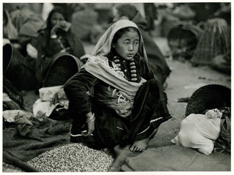 Portrait of a Lepcha Girl Selling Nuts at the Street Market in Darjeeling, India - 1928