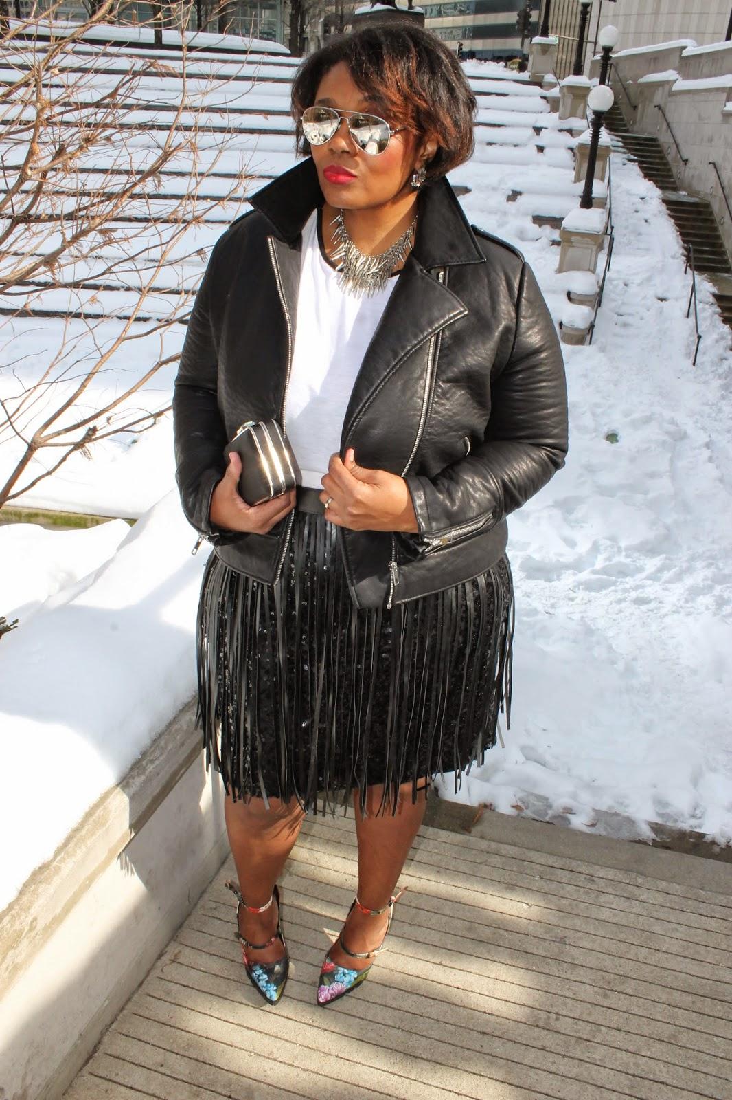 Rocker Chic Valentines Day Style Plus Size Sequins Fringe Floral Pumps