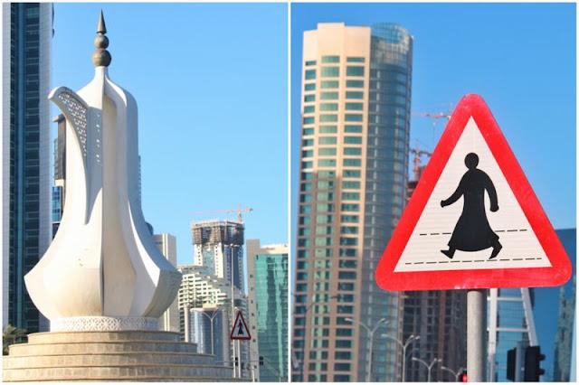 Estatua Tetera - Senal de trafico en West Bay en Doha, Qatar