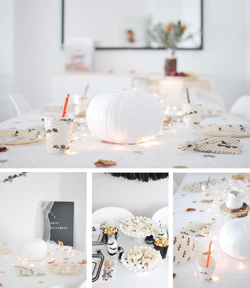como decorar mesa de Halloween para niños minimalista en blanco y negro