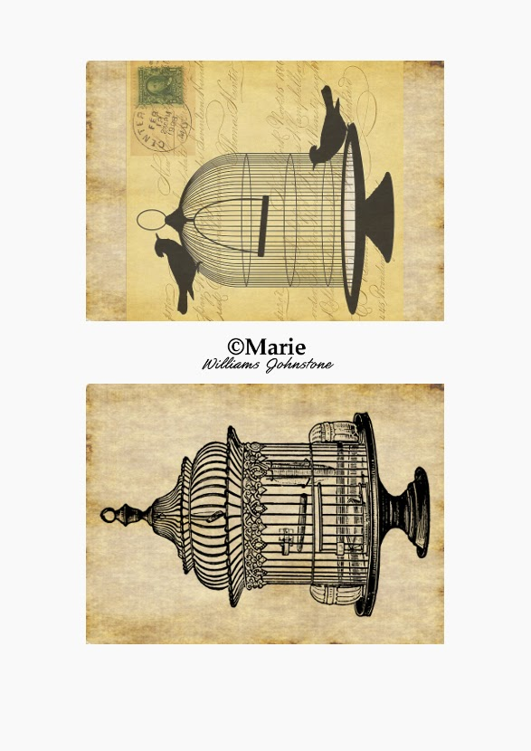 Black Bird Cage Art over Sepia Backgrounds