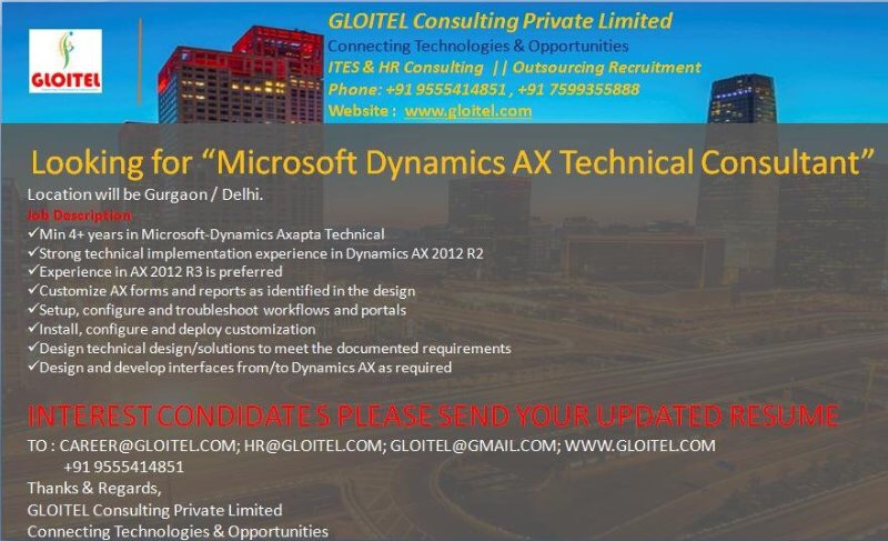 openings for microsoft dynamics ax technical consultant